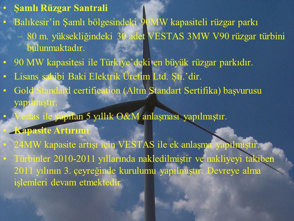 Şamlı Rüzgar Santrali Balıkesir'in Şamlı bölgesindeki 90MW kapasiteli rüzgar parkı.