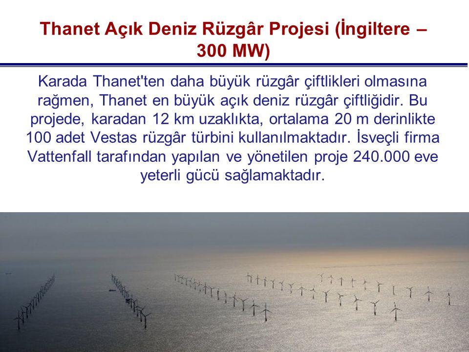 Thanet Açık Deniz Rüzgâr Projesi (İngiltere – 300 MW)