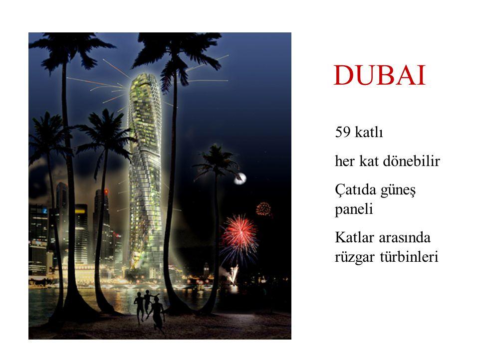 DUBAI 59 katlı her kat dönebilir Çatıda güneş paneli