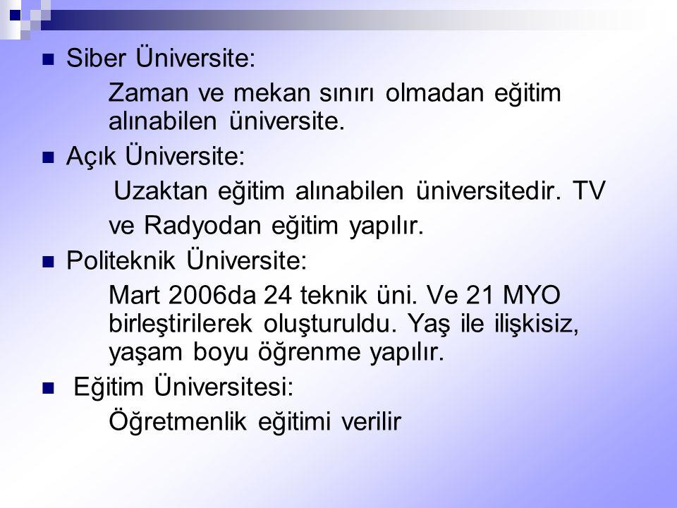 Siber Üniversite: Zaman ve mekan sınırı olmadan eğitim alınabilen üniversite. Açık Üniversite: Uzaktan eğitim alınabilen üniversitedir. TV.