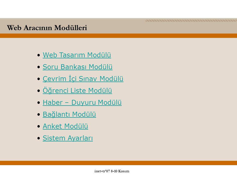 Web Aracının Modülleri