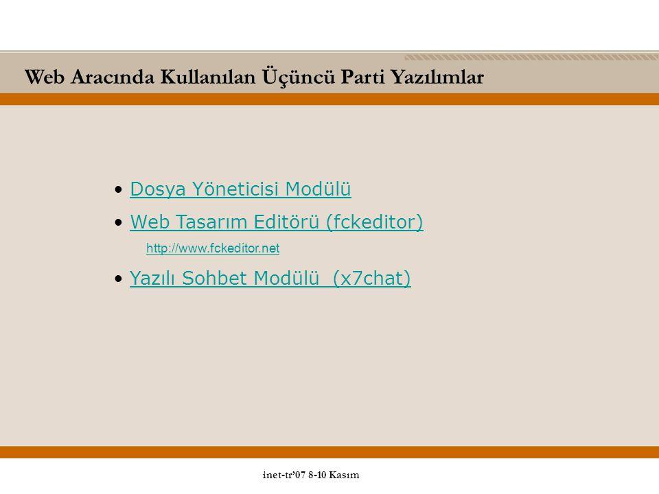Web Aracında Kullanılan Üçüncü Parti Yazılımlar