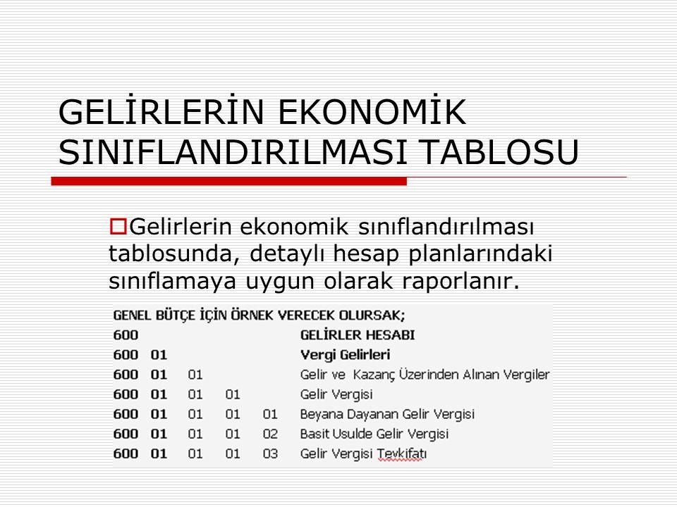 GELİRLERİN EKONOMİK SINIFLANDIRILMASI TABLOSU