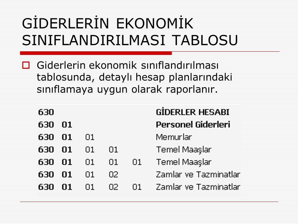 GİDERLERİN EKONOMİK SINIFLANDIRILMASI TABLOSU