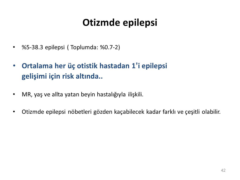 Otizmde epilepsi Ortalama her üç otistik hastadan 1'i epilepsi