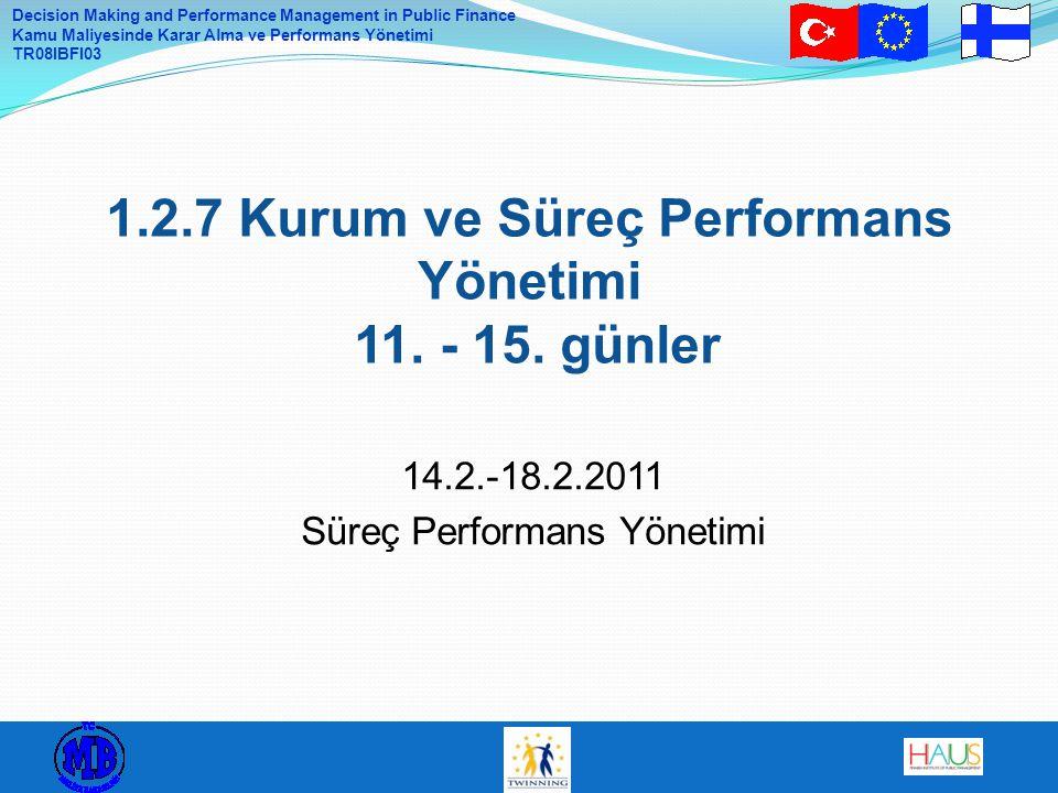 1.2.7 Kurum ve Süreç Performans Yönetimi 11. - 15. günler