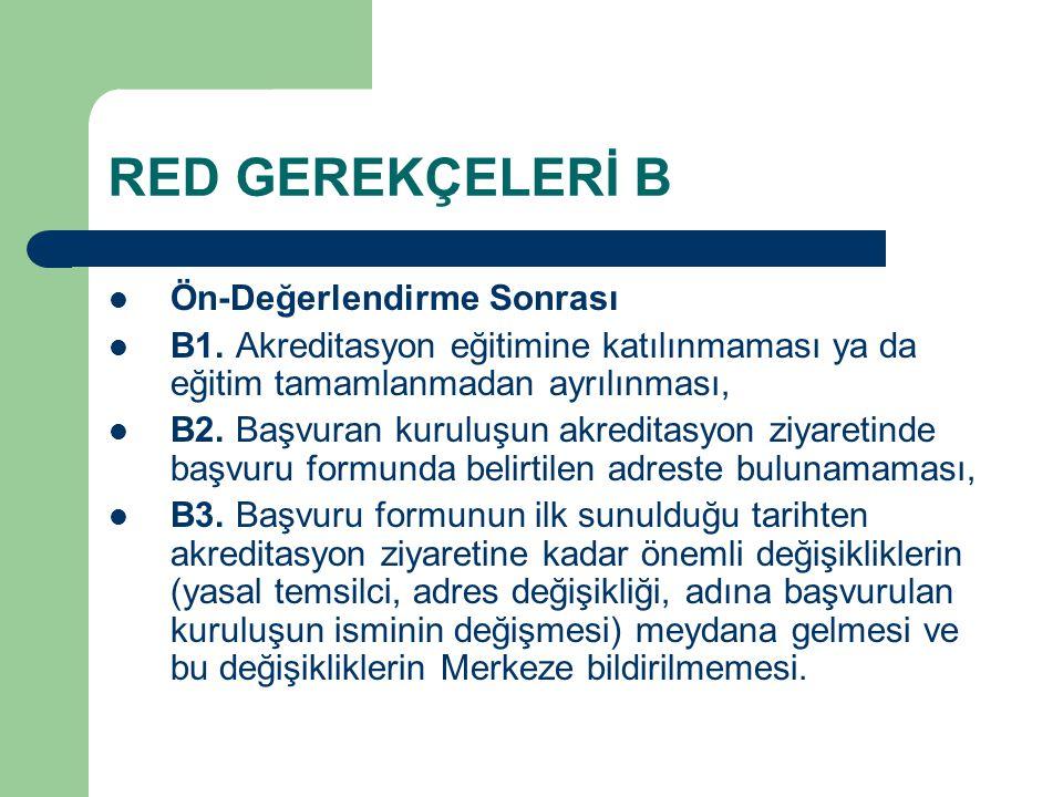 RED GEREKÇELERİ B Ön-Değerlendirme Sonrası