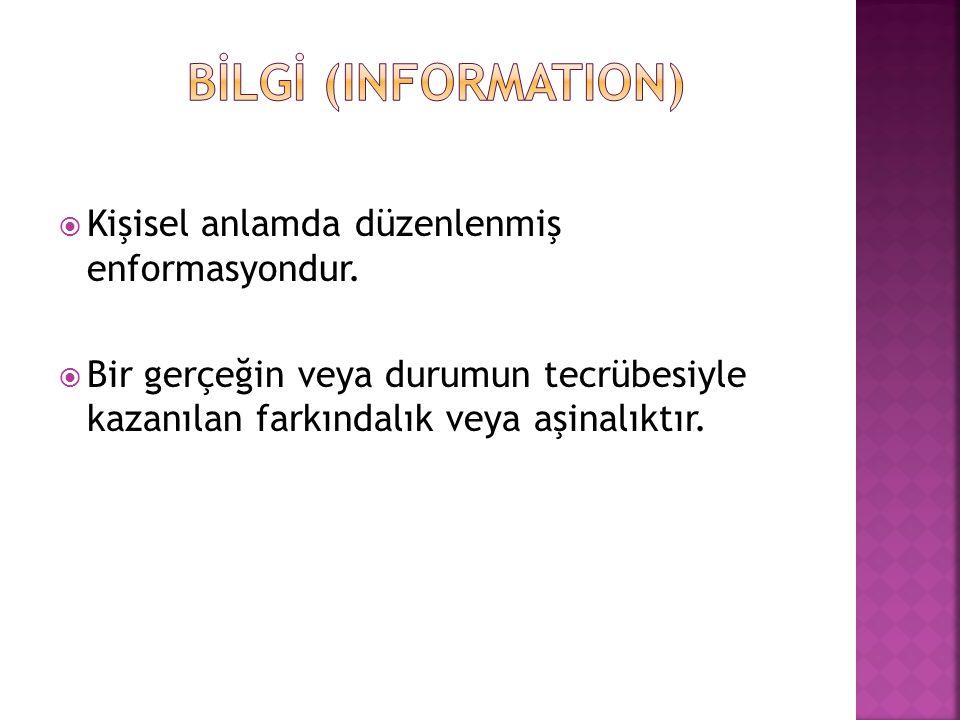 BİLGİ (INFORMATION) Kişisel anlamda düzenlenmiş enformasyondur.