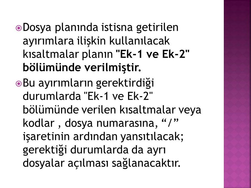 Dosya planında istisna getirilen ayırımlara ilişkin kullanılacak kısaltmalar planın Ek-1 ve Ek-2 bölümünde verilmiştir.
