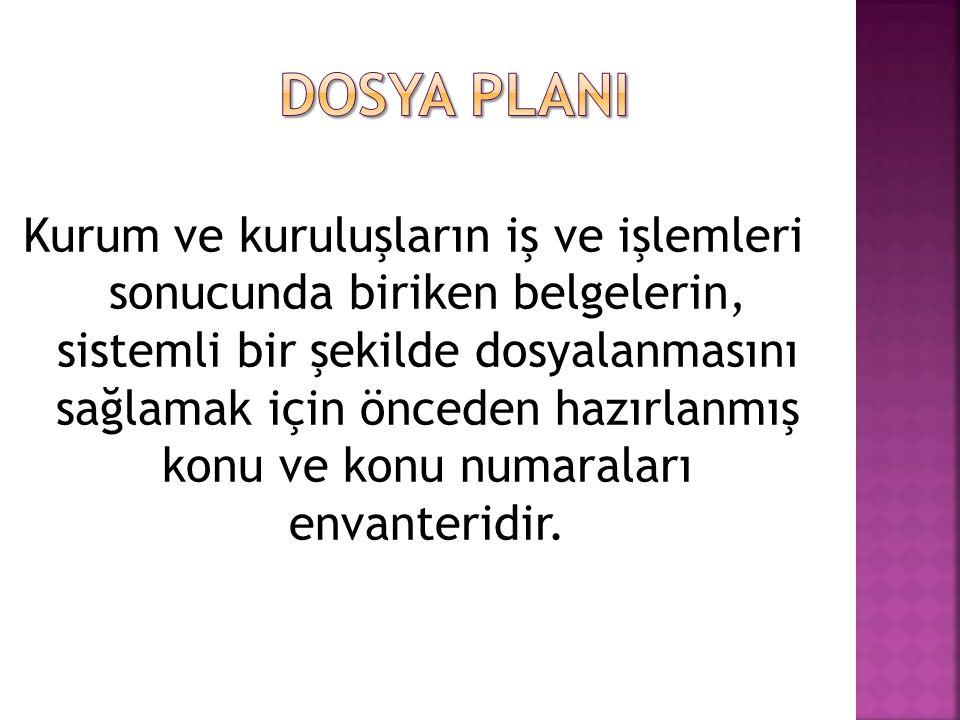 DOSYA PLANI