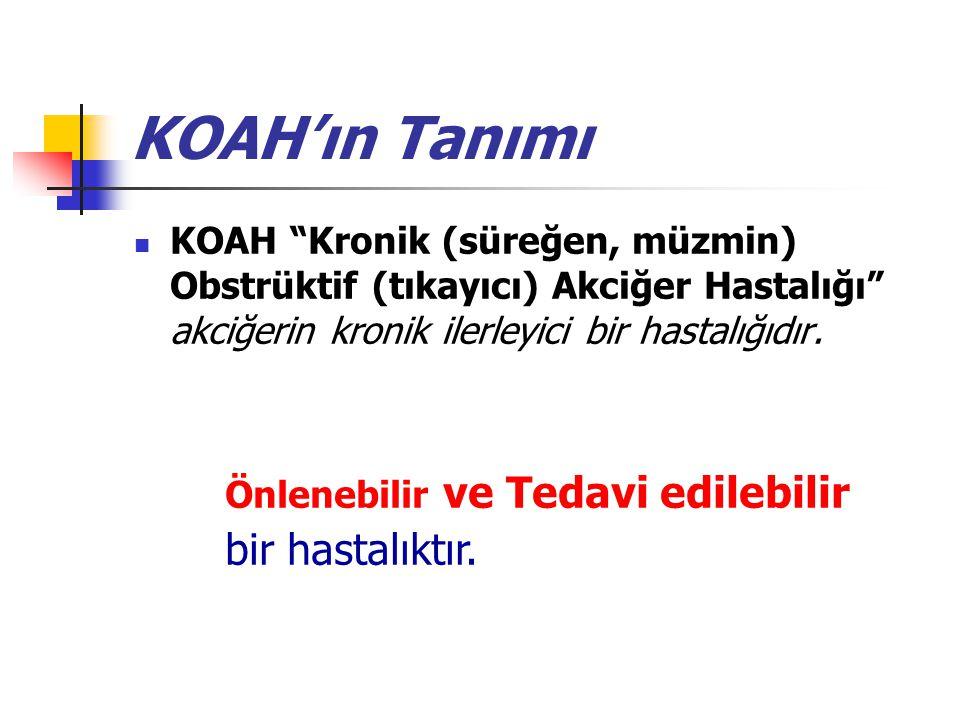 KOAH'ın Tanımı KOAH Kronik (süreğen, müzmin) Obstrüktif (tıkayıcı) Akciğer Hastalığı akciğerin kronik ilerleyici bir hastalığıdır.