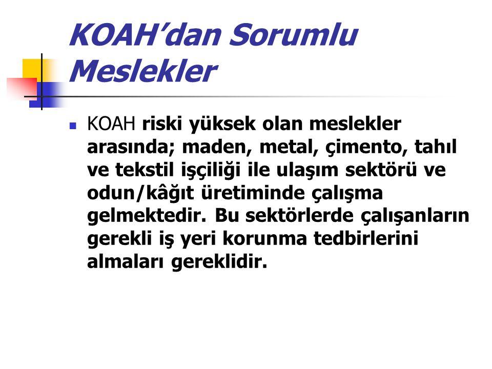 KOAH'dan Sorumlu Meslekler