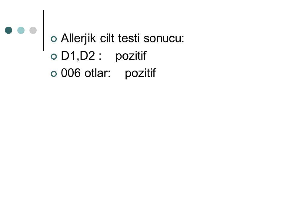 Allerjik cilt testi sonucu: