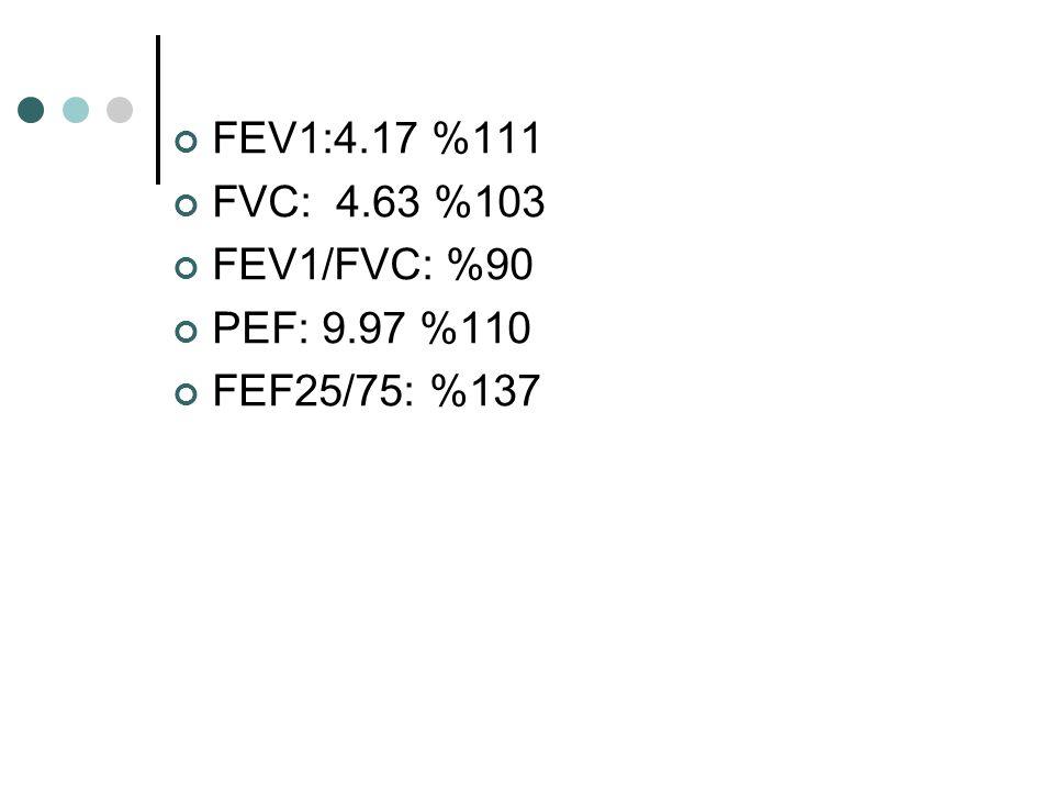 FEV1:4.17 %111 FVC: 4.63 %103 FEV1/FVC: %90 PEF: 9.97 %110 FEF25/75: %137