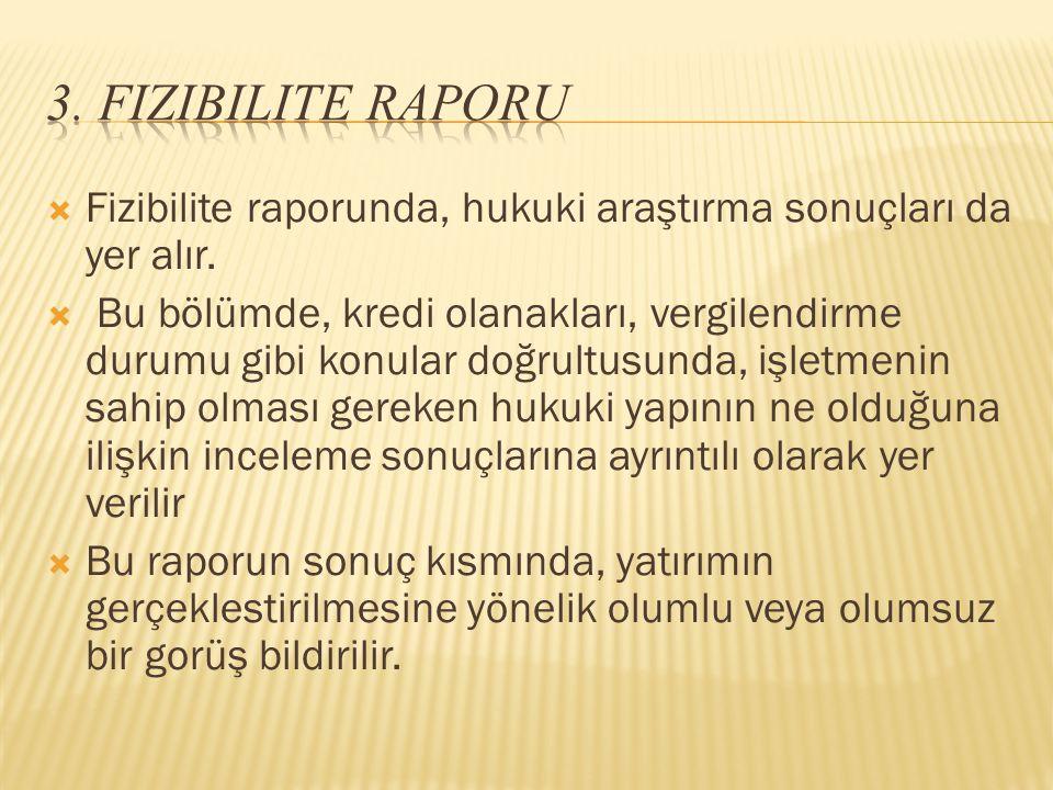 3. Fizibilite Raporu Fizibilite raporunda, hukuki araştırma sonuçları da yer alır.