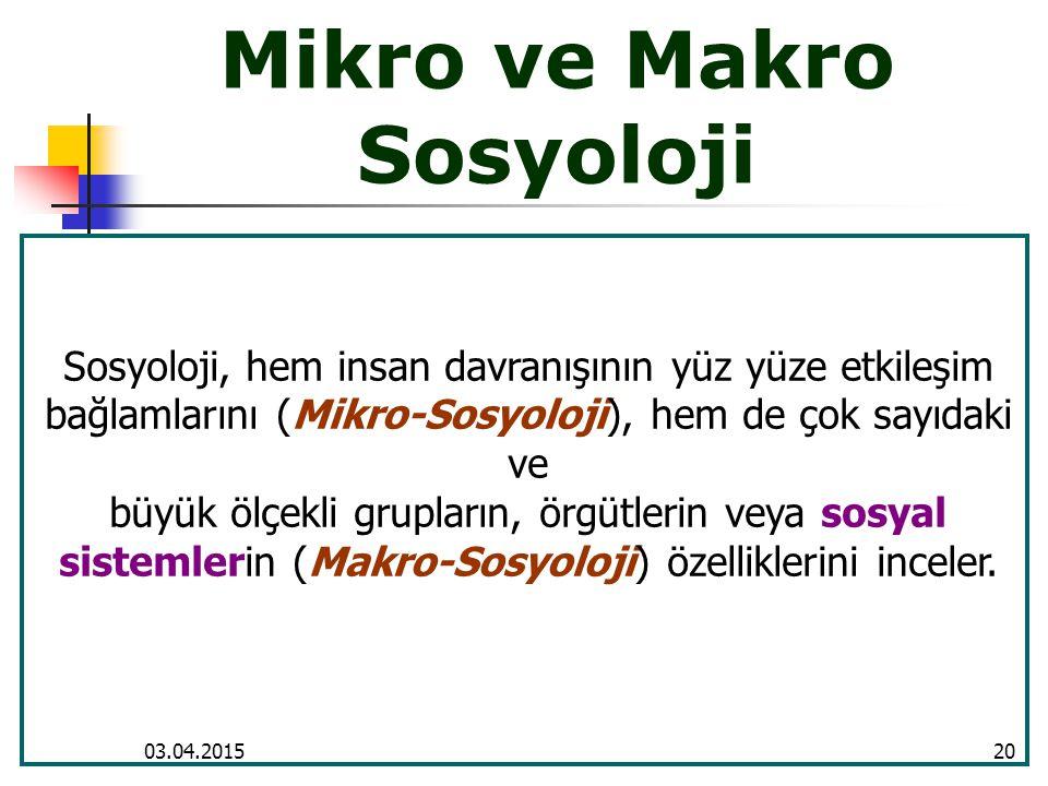 Mikro ve Makro Sosyoloji