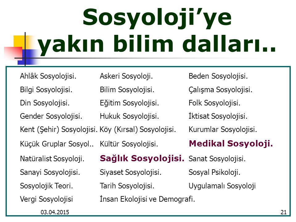 Sosyoloji'ye yakın bilim dalları..