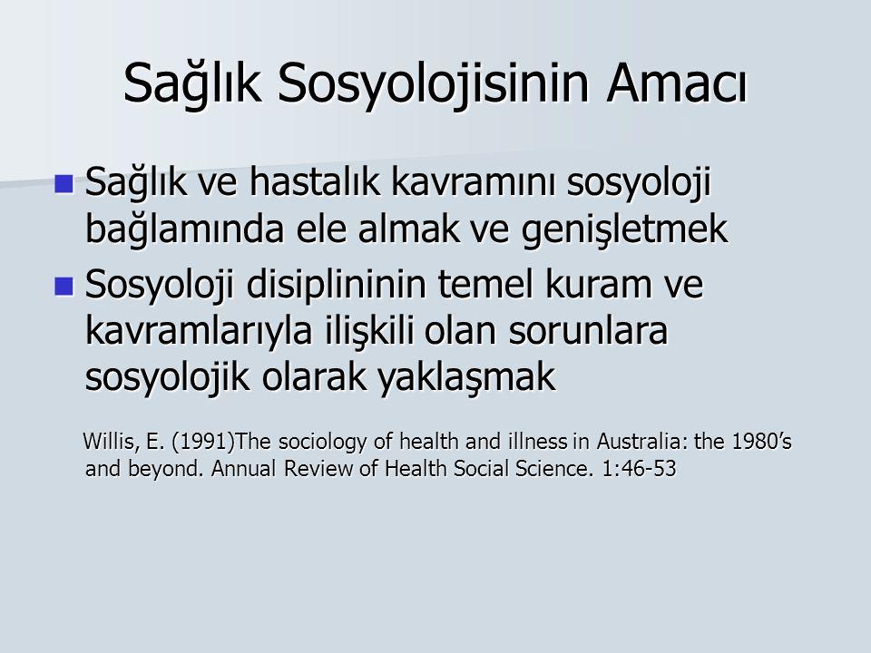 Sağlık Sosyolojisinin Amacı