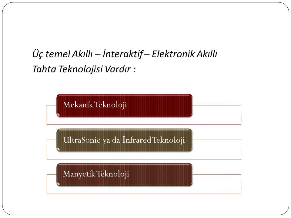 Üç temel Akıllı – İnteraktif – Elektronik Akıllı Tahta Teknolojisi Vardır :