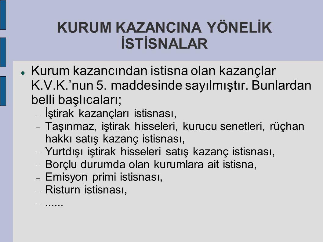 KURUM KAZANCINA YÖNELİK İSTİSNALAR