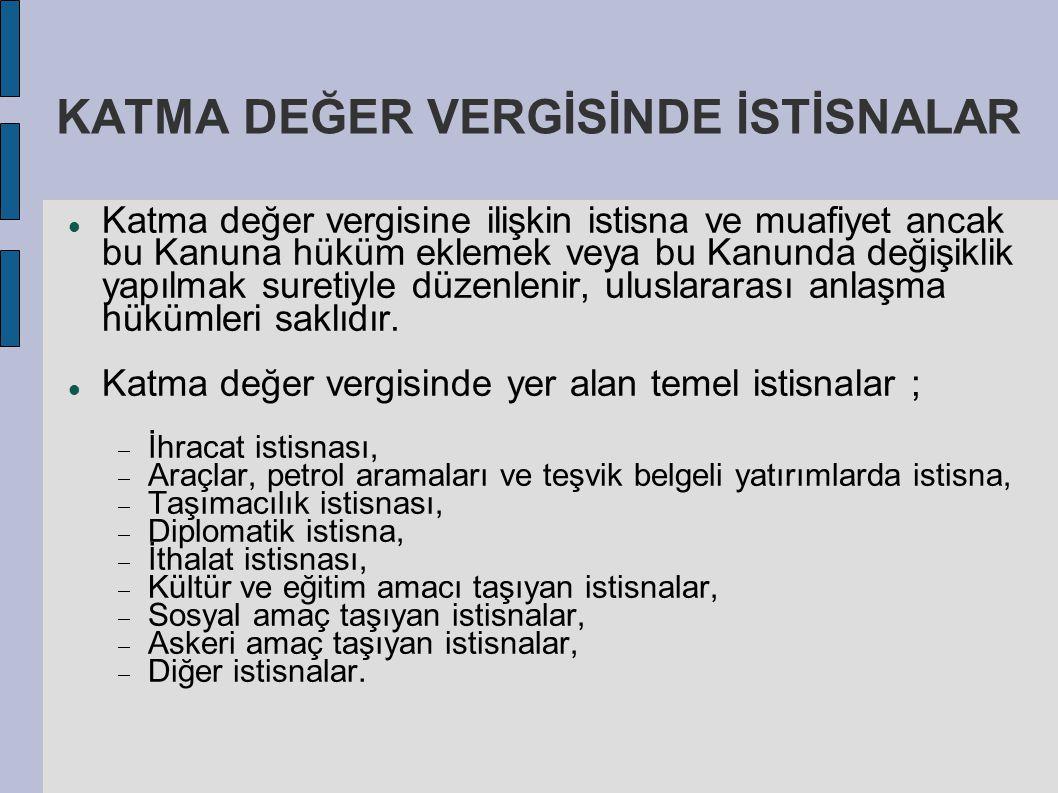 KATMA DEĞER VERGİSİNDE İSTİSNALAR