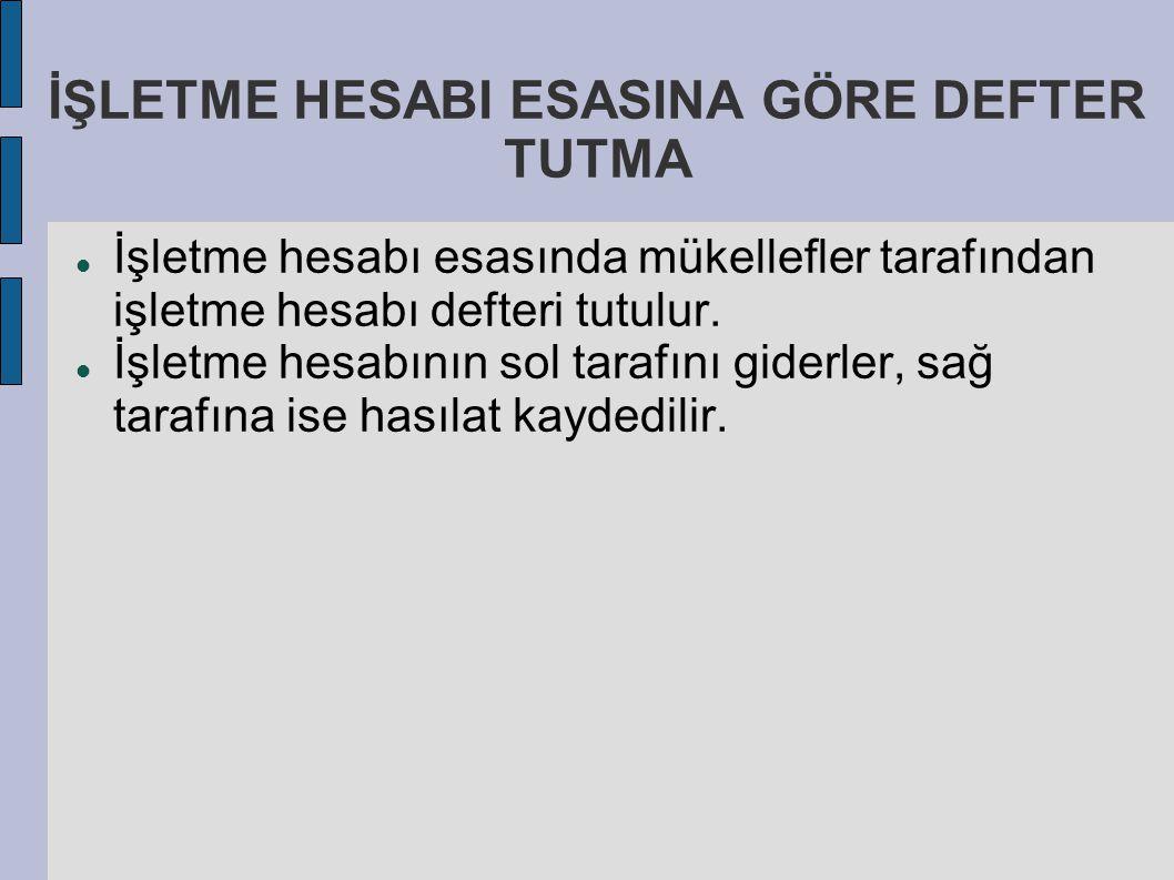 İŞLETME HESABI ESASINA GÖRE DEFTER TUTMA