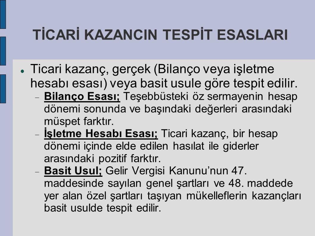 TİCARİ KAZANCIN TESPİT ESASLARI