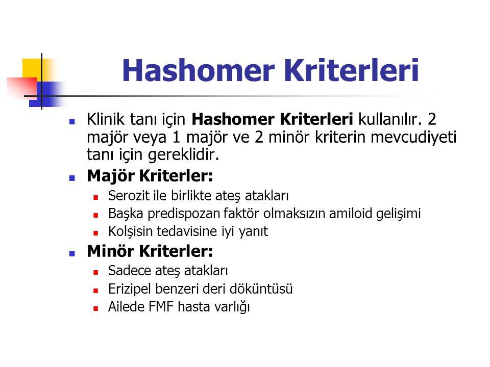 Hashomer Kriterleri Klinik tanı için Hashomer Kriterleri kullanılır. 2 majör veya 1 majör ve 2 minör kriterin mevcudiyeti tanı için gereklidir.