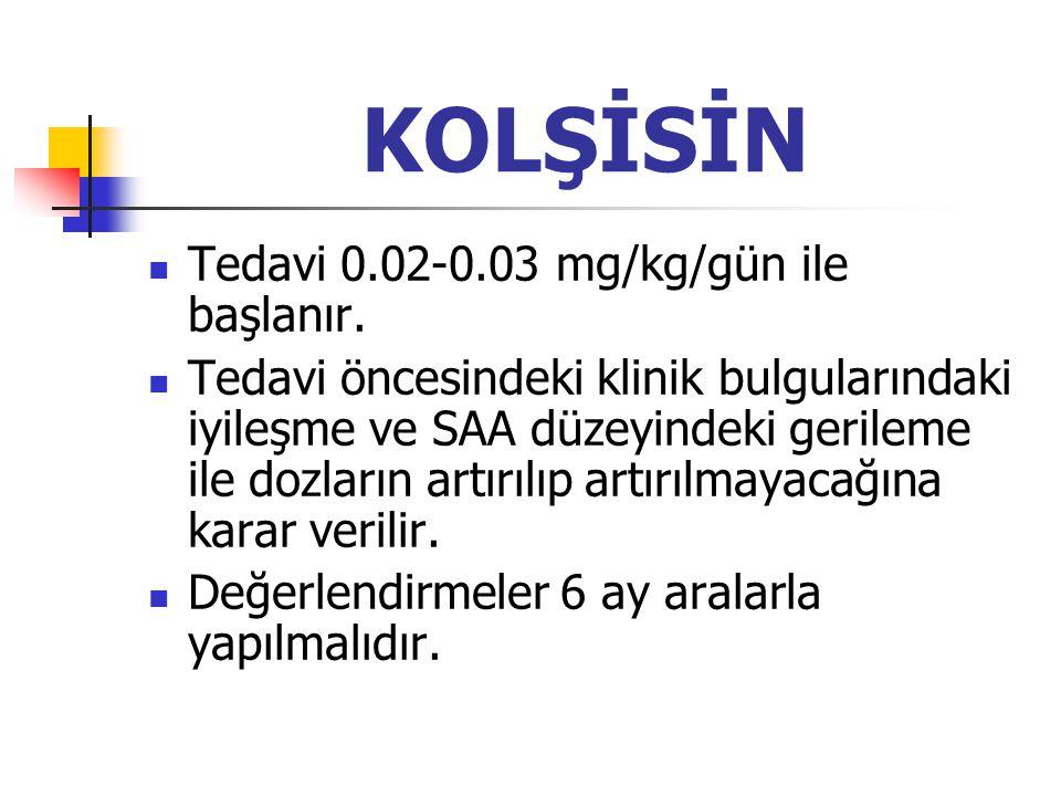 KOLŞİSİN Tedavi 0.02-0.03 mg/kg/gün ile başlanır.