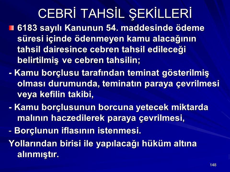 CEBRİ TAHSİL ŞEKİLLERİ
