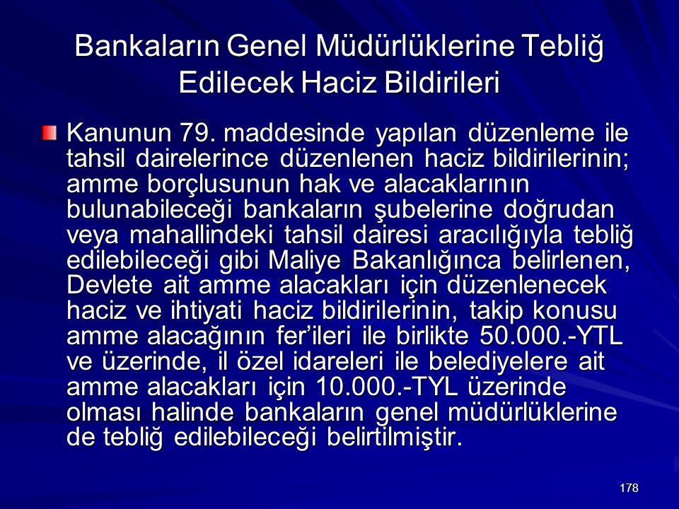 Bankaların Genel Müdürlüklerine Tebliğ Edilecek Haciz Bildirileri