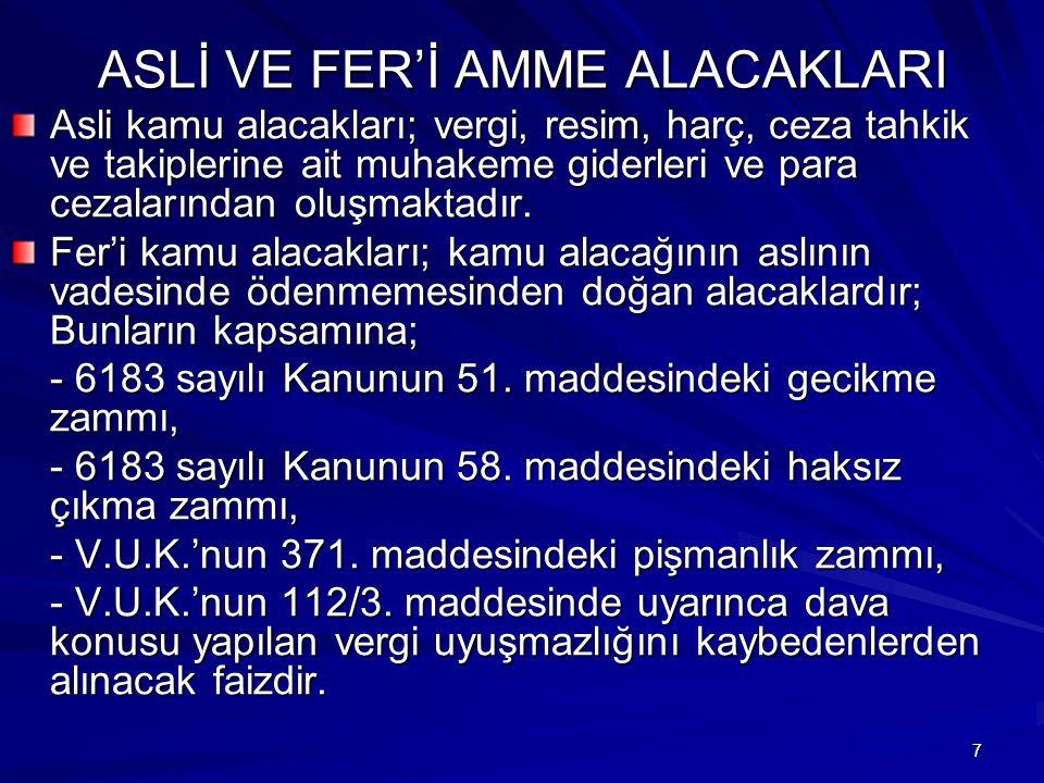 ASLİ VE FER'İ AMME ALACAKLARI