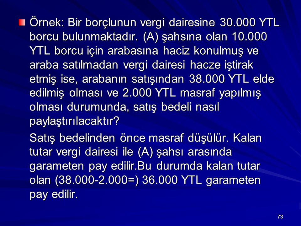 Örnek: Bir borçlunun vergi dairesine 30. 000 YTL borcu bulunmaktadır