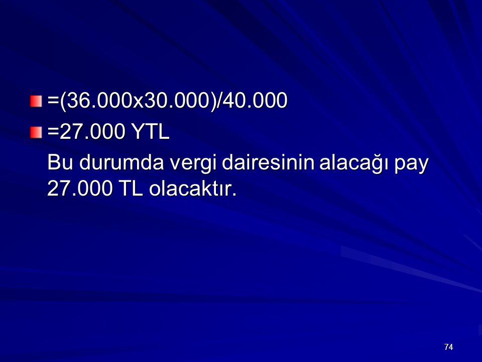 =(36.000x30.000)/40.000 =27.000 YTL Bu durumda vergi dairesinin alacağı pay 27.000 TL olacaktır.