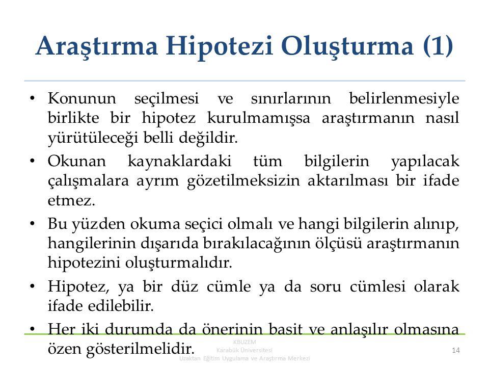 Araştırma Hipotezi Oluşturma (1)