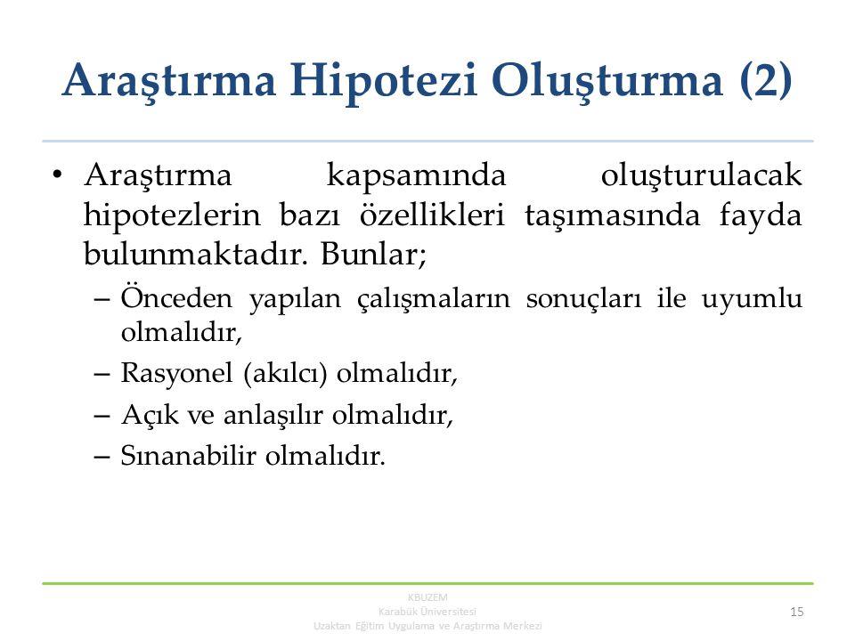 Araştırma Hipotezi Oluşturma (2)