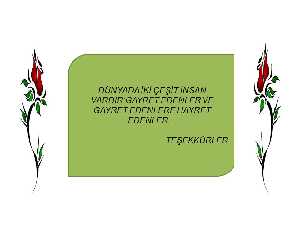 DÜNYADA İKİ ÇEŞİT İNSAN VARDIR;GAYRET EDENLER VE GAYRET EDENLERE HAYRET EDENLER…