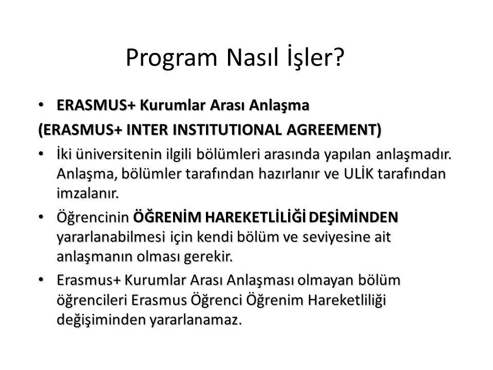 Program Nasıl İşler ERASMUS+ Kurumlar Arası Anlaşma