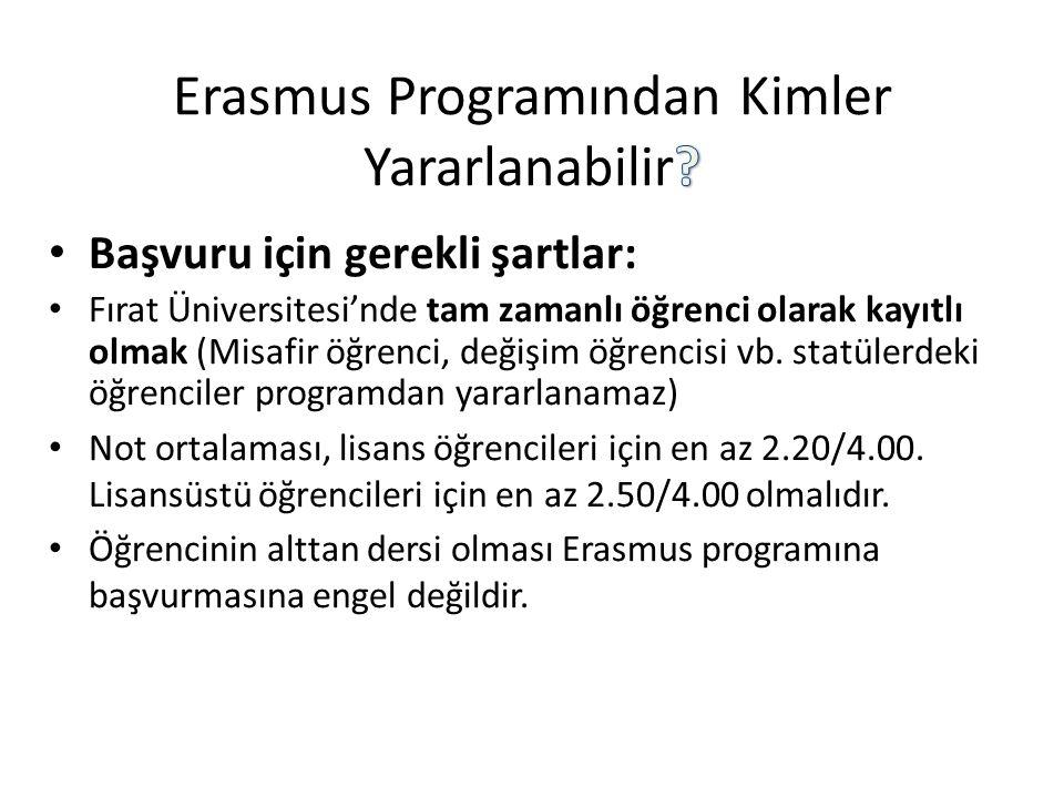 Erasmus Programından Kimler Yararlanabilir