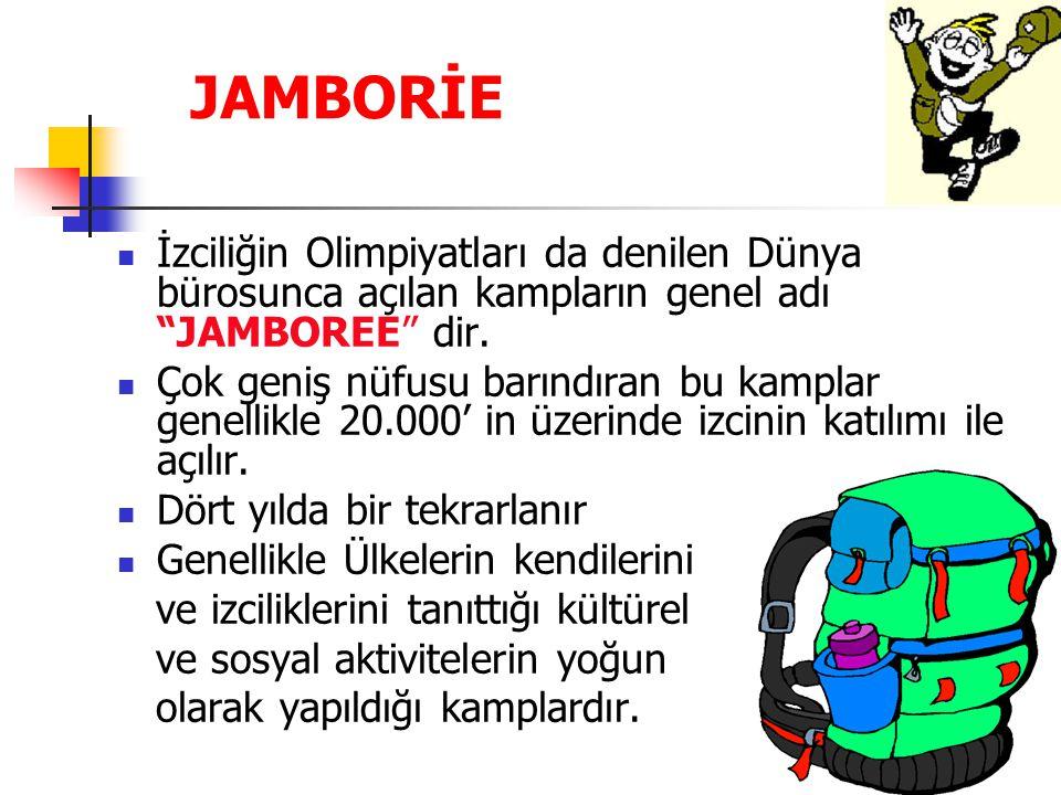 JAMBORİE İzciliğin Olimpiyatları da denilen Dünya bürosunca açılan kampların genel adı JAMBOREE dir.