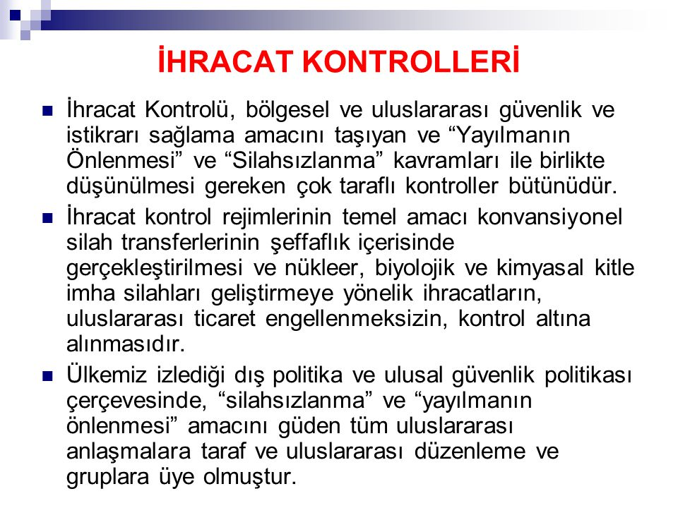 İHRACAT KONTROLLERİ