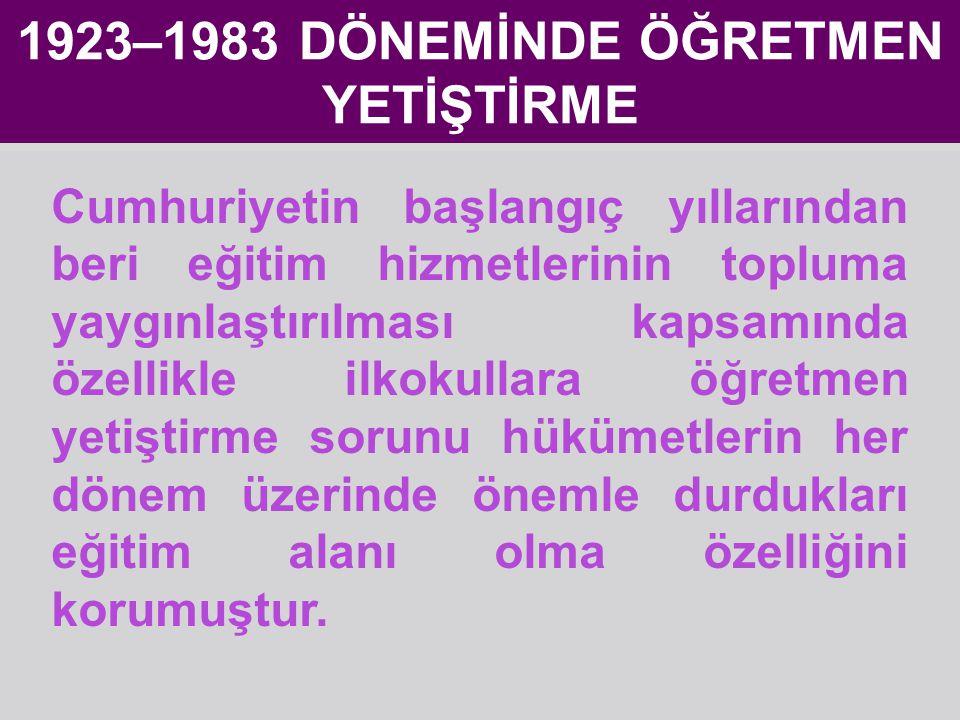 1923–1983 DÖNEMİNDE ÖĞRETMEN YETİŞTİRME