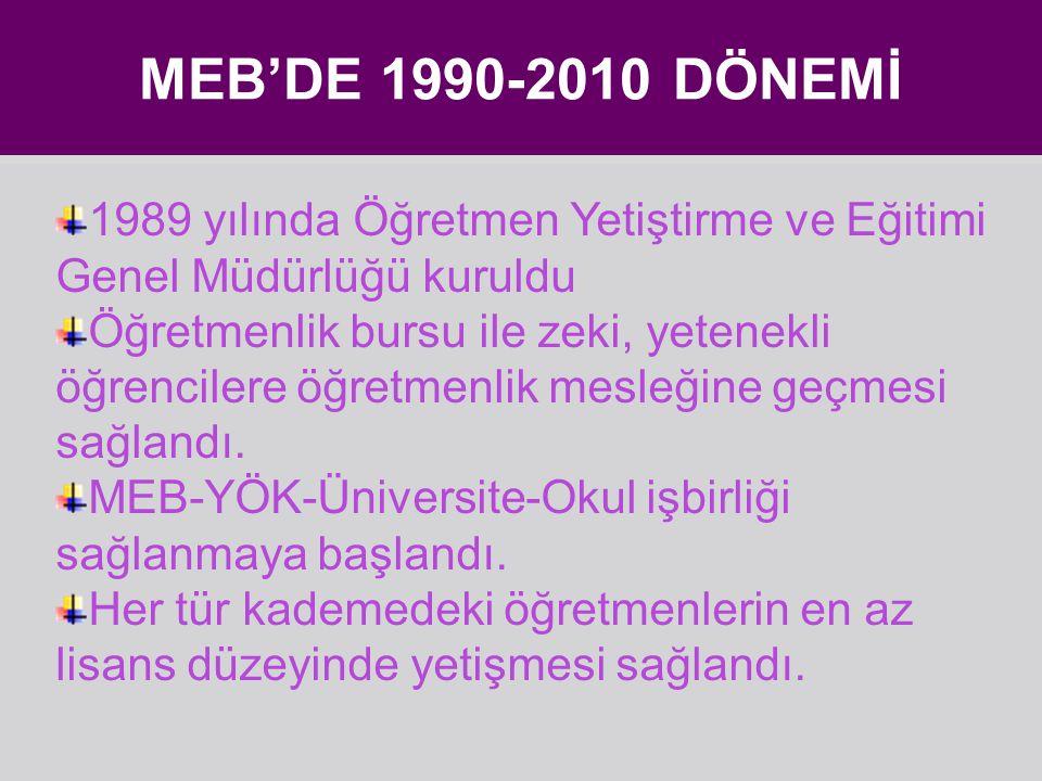 MEB'DE 1990-2010 DÖNEMİ 1989 yılında Öğretmen Yetiştirme ve Eğitimi Genel Müdürlüğü kuruldu.