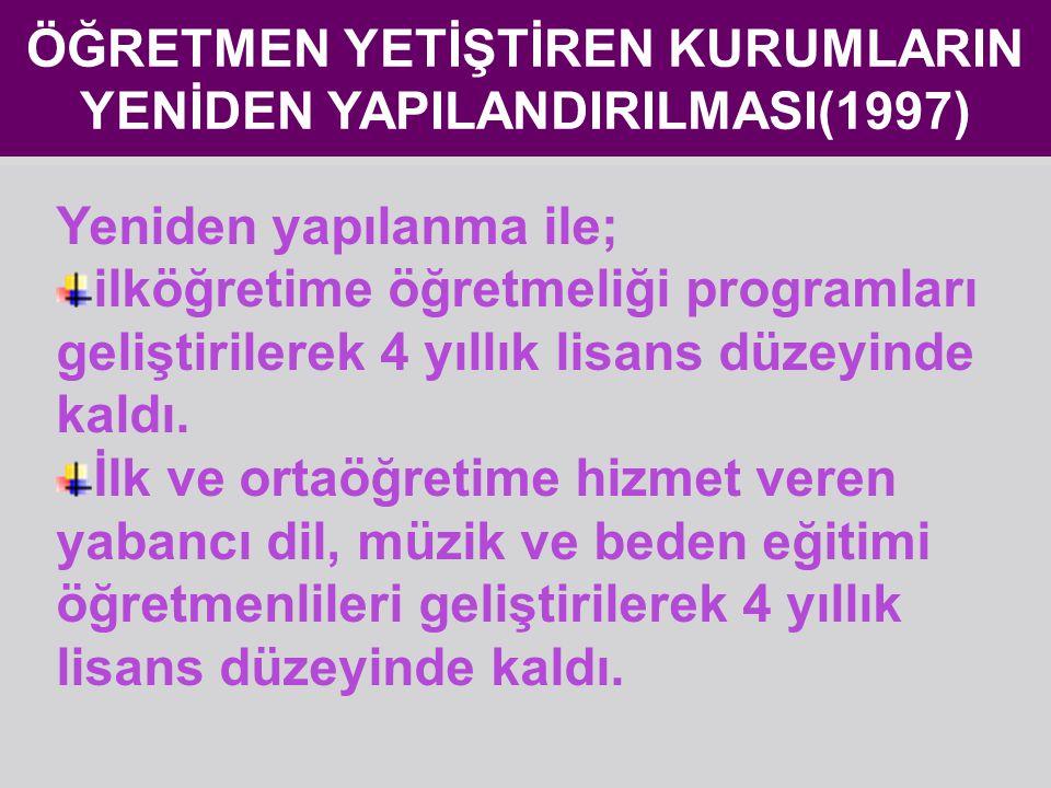 ÖĞRETMEN YETİŞTİREN KURUMLARIN YENİDEN YAPILANDIRILMASI(1997)