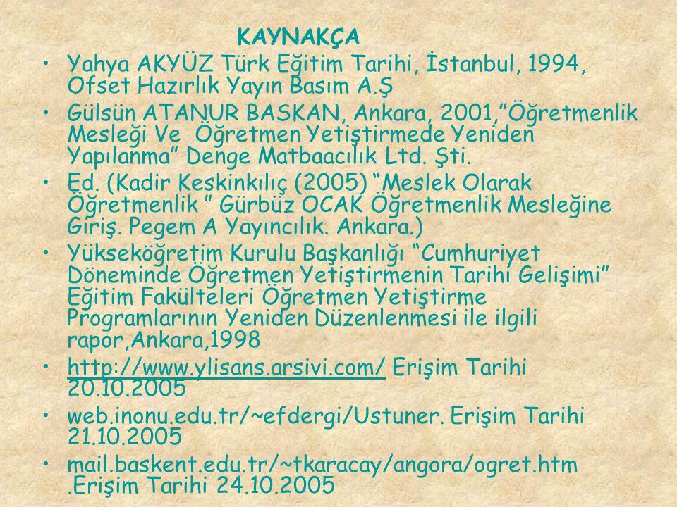 KAYNAKÇA Yahya AKYÜZ Türk Eğitim Tarihi, İstanbul, 1994, Ofset Hazırlık Yayın Basım A.Ş.