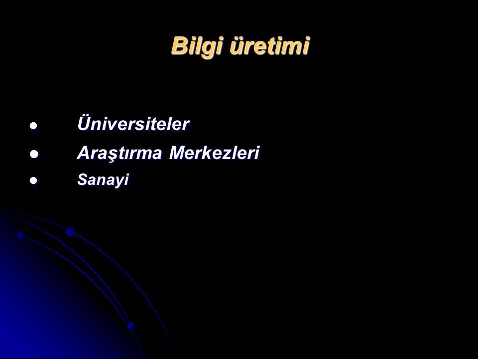 Bilgi üretimi Üniversiteler Araştırma Merkezleri Sanayi