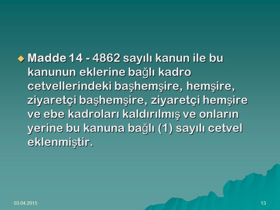 Madde 14 - 4862 sayılı kanun ile bu kanunun eklerine bağlı kadro cetvellerindeki başhemşire, hemşire, ziyaretçi başhemşire, ziyaretçi hemşire ve ebe kadroları kaldırılmış ve onların yerine bu kanuna bağlı (1) sayılı cetvel eklenmiştir.