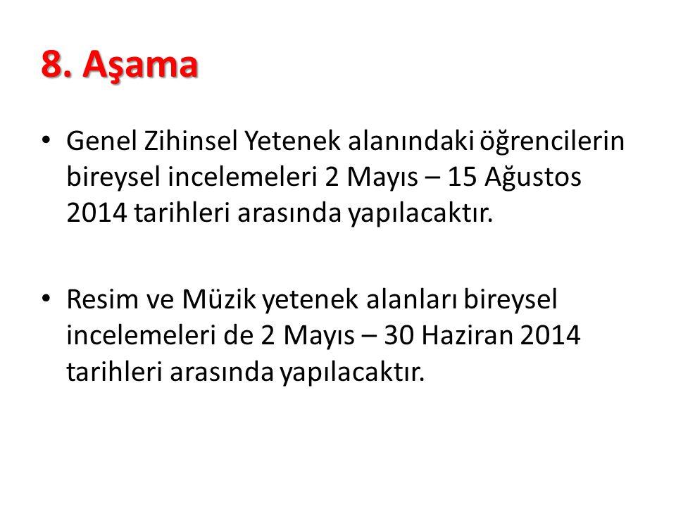 8. Aşama Genel Zihinsel Yetenek alanındaki öğrencilerin bireysel incelemeleri 2 Mayıs – 15 Ağustos 2014 tarihleri arasında yapılacaktır.