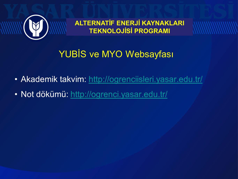 YUBİS ve MYO Websayfası