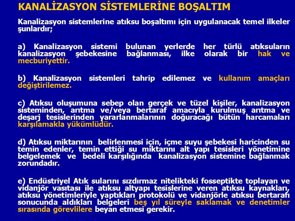 KANALİZASYON SİSTEMLERİNE BOŞALTIM